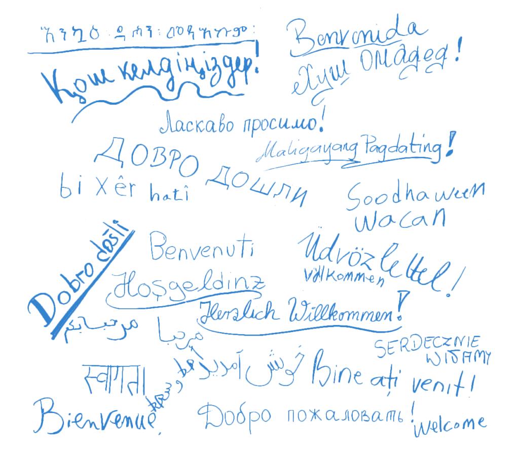 """""""Willkommen"""" in verschiedenen Sprachen"""